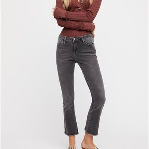 Free People straight crop jeans in grey